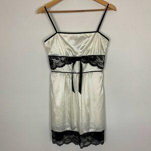 Guess Womens White Black Lace Square Neck Dress
